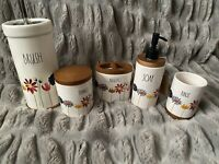 Rae Dunn 5 Piece Floral + Wood Bathroom Set BRUSH, BRUSHES, RINSE, THINGS, SOAP