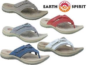 Ladies Sandals Earth Spirit Comfort Summer Genuine Leather Toe Post Shoes
