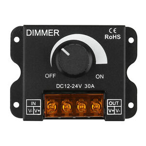 SUPERNIGHT® Dimmer Knob ON/OFF Switch PWM 0%-100% for DC 12V-24V LED Strip Light