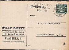 PLAUEN i. V., Postkarte 1941, Willy Dietze Spezial-Haus für Büro-Bedarf