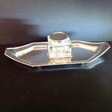 Large Antique English Sterling Silver Desk Inkstand Inkwell