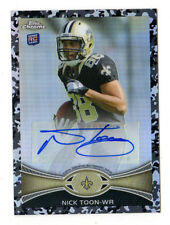 NICK TOON NFL 2012 TOPPS CHROME ROOKIE AUTOGRAPHS CAMO REFRACTORS (SAINTS) #/105