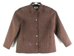 Talbots Petites Womens Size L Brown Button Coat Jacket 100% Silk