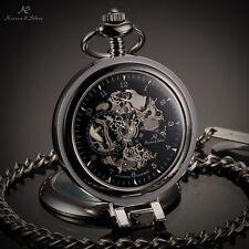 KS Black Half Hunter Self-Stand Case Skeleton Chain Mechanical Men Pocket Watch