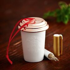STARBUCKS Ceramic White Gold To Go Cup Christmas Ornament 2013 Create Your Own
