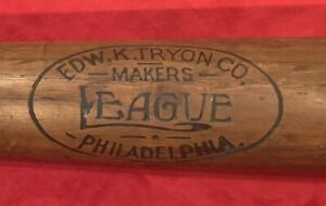 Antique Circa 1900 Tryon Philadelphia Brand Thick Handled Baseball Bat Old Early