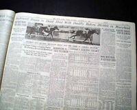 """SEABISCUIT in """"Dead Heat"""" w/ Heelfly HORSE RACING Laurel Stakes 1937 Newspaper"""
