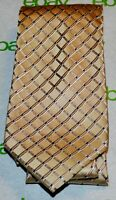 BUGATTI Pale Gold Blue Intersection Square Grid Plaid 100% Silk Neck Tie