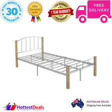 King Single Modern Bed Frame Natural Silver Two Tone Colour Design Metal Wood