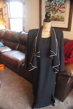 VINTAGE BOUTIQUE BLACK EVENING PARTY COCKTAIL DRESS JACKET COAT LARGE SUIT BLING