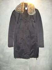 superbe manteau parka noire col fausse fourrure CAMAIEU T44 TBE+++++++