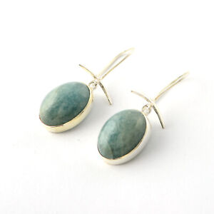 925 Sterling silver Aquamarine cab stone Earring Jewelry for gift