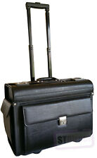 Large Wheeled Laptop Pilot Case in Grained Faux Leather Briefcase Bag on Wheels