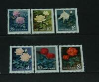 China 1984 Flowers Chinese Roses Set of 6 Mint Never Hinged. SG3304/3309.