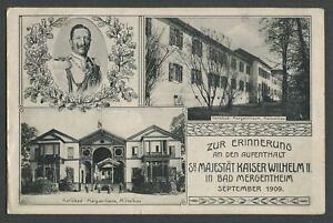 Bad Mergentheim Germany: 1909 Postcard AK KAISER WILHELM II Zur Erinnerrung