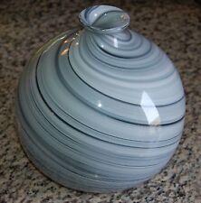 "Vintage 8.5"" Large Hand Blown Swirl Murano Art Glass Studio Vase Ball Bubble"
