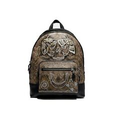 Coach West Backpack Signature Canvas w/Chelsea Animation & Chelsea Ram Bag Charm