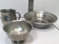 PEWTER BOWL, CREAMER, LITTLE BOWL marked Lot of 3 pewter pieces