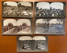 Set Of 5 Antique Stereoview Cards Us Army American Soldiers Drilling Circa 1905