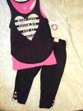 NWT ~ So black hot pink double layer tank top performance capri pants ~ girls 12