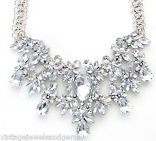 SILVER & CLEAR CRYSTAL RHINESTONE Chunky Bib Choker Pendant Statement Necklace