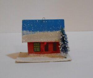 Vtg putz mica japan Christmas putz red house blue roof bottle brush tree
