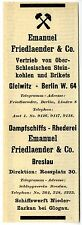 Emanuel Friedlaender & Co. Gleiwitz Berlin Breslau Steinkohle u. Rhederei 1908