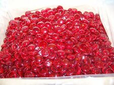 100 DARK CHERRY RED RUBY GLASS GEMS  PEBBLES, MOSAIC TILES LUCKY ROCKS  166599