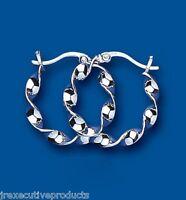 Hoop Earrings Creole Sterling Silver Twist 22mm