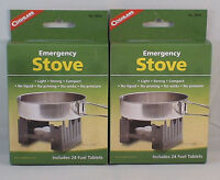 2-SURVIVAL EMERGENCY STOVES W/ 48 HEXAMINE ESBIT FUEL TABLETS KEEP WARM COOK