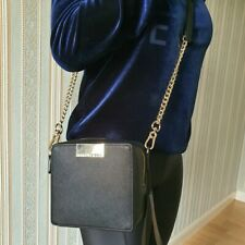 Karl Lagerfeld Camera Bag Black Leather Gold Chain Crossbody Shoulder Handbag UK