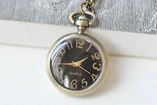 Necklace Set of 1 A1447 Antique Bronze Small Black Pocket Watch