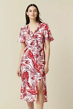 Wallis Womens Multi Coloured Floral Print Ruffle Midi V-Neck Dress Short Sleeve