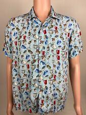 Rowdy Gentleman Men's COLLEGE FRAT PARTY Keg Solo Cup Whisky Hawaiian Shirt M