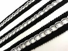 9m x 25mm Wide Silver Chain Woven Black Lace Trim Ribbon, DIY Fashion GOTH PUNK