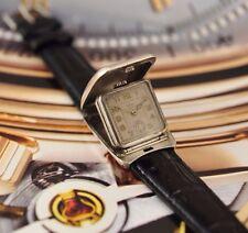 Antik Swiss VULCAIN 0.935 Silber Jäger Flip-Case Nachttisch Art Deco Zwanziger