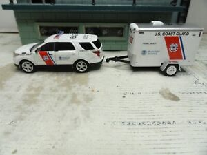 GREENLIGHT POLICE FORD UNITED STATES COAST GUARD  WITH TRAILER  CUSTOM UNIT