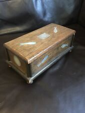 Superb Inlaid Mother Of Pearl Mop Gaming Counter Wooden Music Box Fish Musical