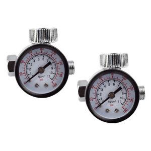 "2x Dial 1/4"" Tool Compressor Mini Air Regulator Pressure Gauge Valve Control"