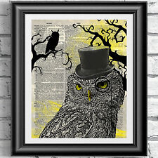 Original Dictionary Art print on antique book page Steampunk Dandy Owl Poster