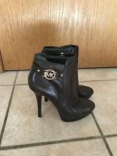 Michael Kors Wyatt Bootie Dark Chocolate Leather Size 10