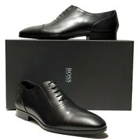 New HUGO BOSS ITALY Black Leather Captoe Men's Pebbled Oxford Dress Derby Casual