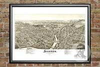 Old Map of Sharon, PA from 1901 - Vintage Pennsylvania Art, Historic Decor