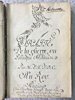 17c. Chastelet's Traité de la Guerre Military Manuscript Calligraphy Handwritten