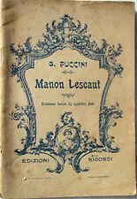 1927 libretto teatro-Giacomo Puccini-MANON LESCAUT-Edizioni Ricordi