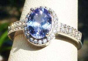 8x6 Montana Sapphire Cornflower Diamond Pave HALO VS AUTHENTIC sz.7 silver ring