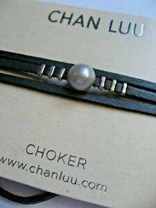 Chan Luu Choker Necklace Freshwater Cream Pearl Leather w Silver Wrap Lariat NWT