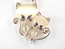 Golden chain Fashion jewelry shiny Rhinestone opal cats pendant Necklace #B