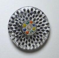 Bouton ancien - Verre moulé peint reverse - 26 mm - XXe - Vintage Glass Button
