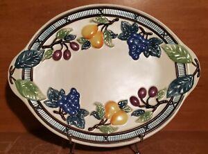 "Mikasa GARDEN HARVEST 14"" Oval Serving platter, KT429, Fruit, Very good"
